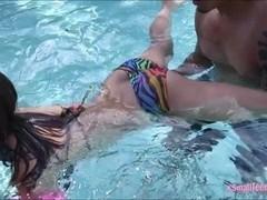 Sexy bikini teen Sara Luvv fucked by big cock outdoors