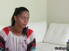Huge tits female agent licks amateur gal on casting