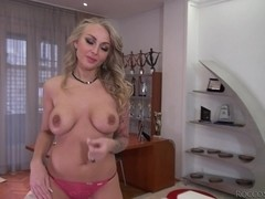 Nice blonde with big brabazons does blowjob to Rocco