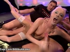 666Bukkake Video: Blonde And Pissed On Part 2