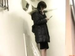 Hot Asian milf got skirt sharked inside of the building