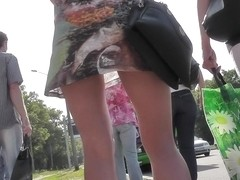 Provocative skinny butt in the hot upskirt scene