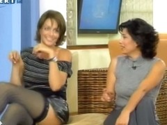 Upskirt pantyhose brunette on tv