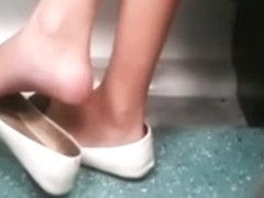 Candid Shoeplay Dangling on Train Feet Legs