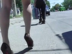 Gal in high heels legs and a-hole upskirt