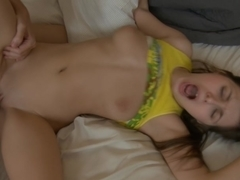 Monica B. in lovely bimbo giving deep throat bj in this video