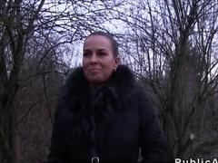 Beautiful ass brunette banged in public