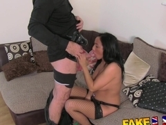 FakeAgentUK: Filthy mouthed office girl brings toys to fake casting