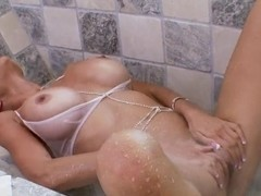 Stunning pornstar Puma Swede plays with huge dildo