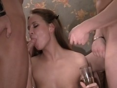Anika & Mancy & Marika & Marya in nude students licking and fucking ferociously