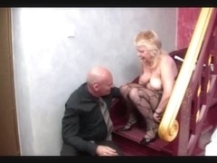 german mama drilled at stairs