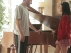 Piano tuner copulates the schoolgirl