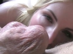 Busty blonde flashing boobs on backseat in fake taxi