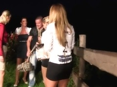 Classy outdoor groupsex with european babes