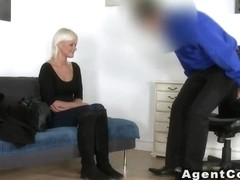 Blonde gets doggy style in casting