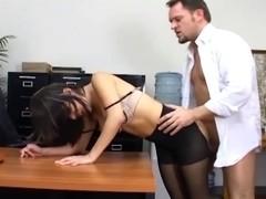 Breasty secretary in sheer hose has office sex