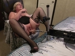 New fuck machine makes wife's pussy cream and legs shake