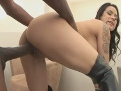 Busty brunette Nadia Styles gets on the black dick with her ass