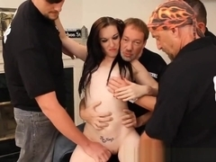 Hot Freckled Lactating Slut Bukkake Gangbang