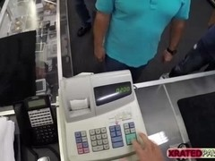 Busty Blonde lady gets big cash for sex inside of the pawn shop office by the clerk