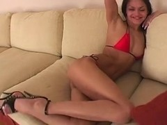 Russian babe Viola gets a big anal creampie