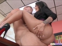 Big booty Leyla gets busted while gently rubbing her pussy inside office