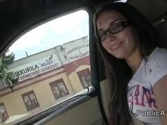 Student with glasses fucks in the car in public pov