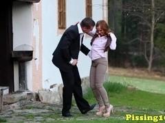 Wam ###fetish eurosluts tasting cum at outdoor threeway