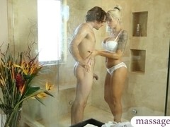 Big juggs blonde masseuse Nina Elle gets banged in the spa