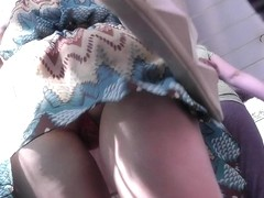 Amazing outdoor upskirt scene demonstrate cute gal