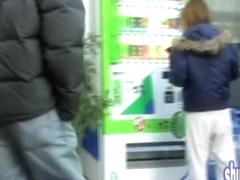 Vending machine sharking scene of some fabulous young Japanese sweetie
