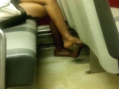 Candid Ebony Feet Legs Shoeplay Heelpopping Dangling