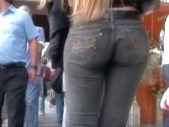 Long hair blonde in tight jeans voyeur candid street video