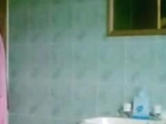 Blonde teen before shower