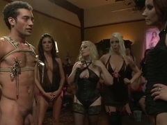 Group of women dominating a guy