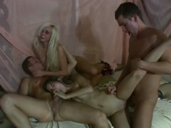 Allysin Moore & Cofi & Lucille & Monica B. & Stacey Silver in sexy college fuck scene with a lot o.
