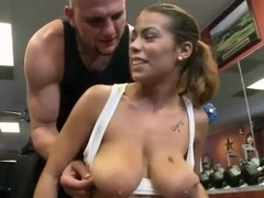 Delicious Jasmine training her unforgettable tits in a gym