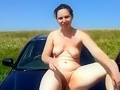 Wicked German girlfriend outdoors gets exposed completely