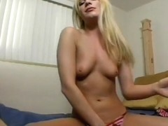 Cute Blonde Pounds Herself With Her Hand