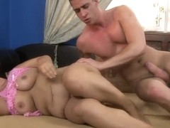 Hairy and old Lawanda's pussy gets a young strong cock inside!