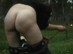 Face sitting femdom session in the woods