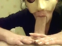 Masked amateur wife sucking big cock and gets a massive facial