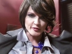 Rude femdom lover brunette chick Joslyn James is unsparingly scoffing on her young boyfriend Bill .