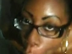 Youthful dark hotty receives facial jizz flow from her white BF.