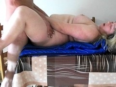 Unshaven mature blonde and her horny lover