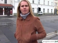 Unshaved pussy of a hot euro girl gets rammed in public for cash