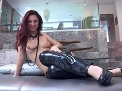 Lesbo dyke in latex pants got her snatch eaten