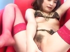 Rika Sonohara In Black And Red And A Pink Dildo