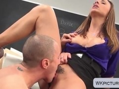 Milf brunette teacher Chanel Preston fucked by student