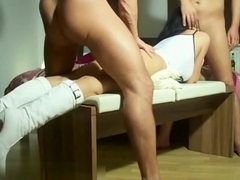 Two friends and one sexy amateur girl who doesn't mind getting ass fucked